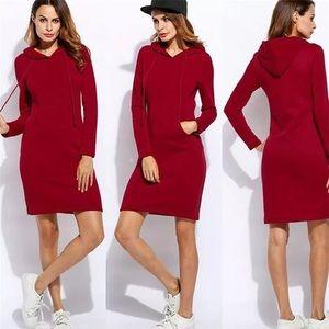 LA long hoodie sweatshirt dress in burgundy.
